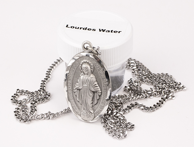 Y129 - Large Pewter Miraculous Medal on Chain & Lourdes Water